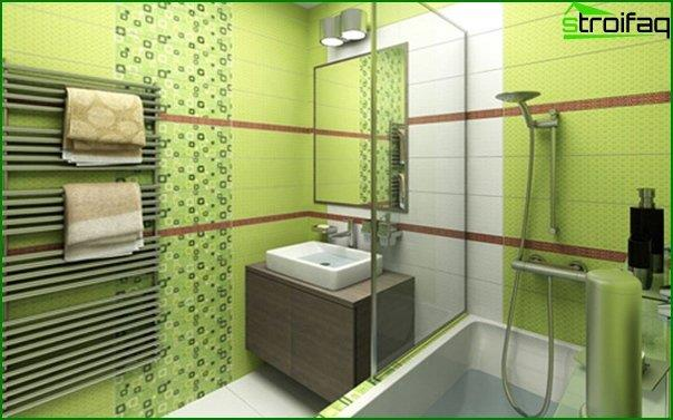 Green tile in the bathroom interior - 1