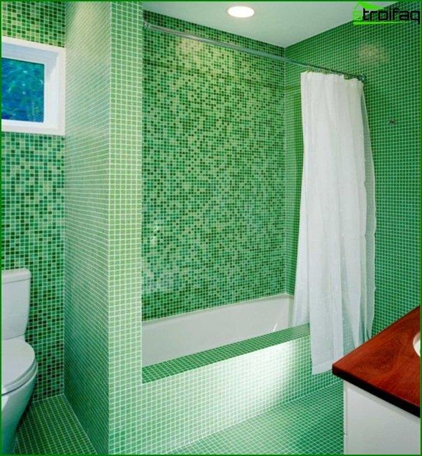 Green color tile in the bathroom interior - 3