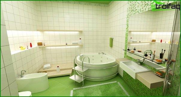 Green color tile in the bathroom interior - 4