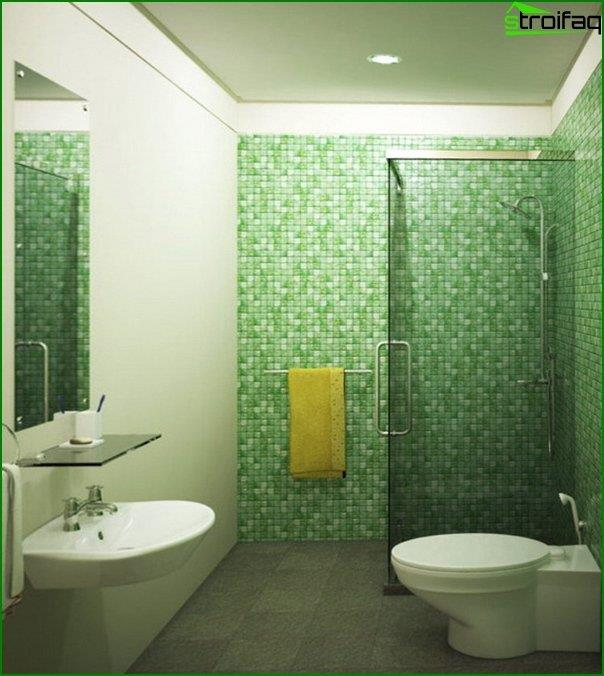 Green tile in the interior of the bathroom - 5