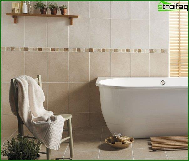 Tiles of different colors in the interior of the bathroom - 1