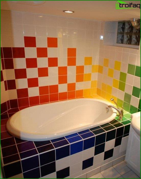 Tile of different colors in the interior of the bathroom - 4