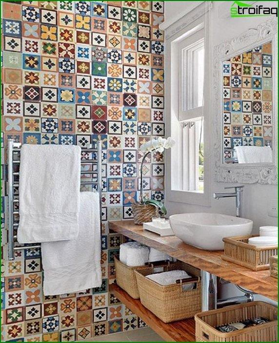 Tile of different colors in the interior of the bathroom - 5