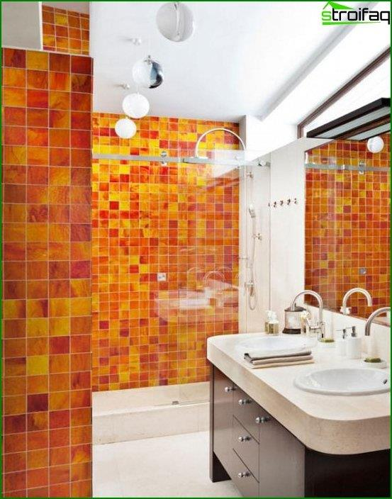 Tile of different colors in the interior of the bathroom - 6