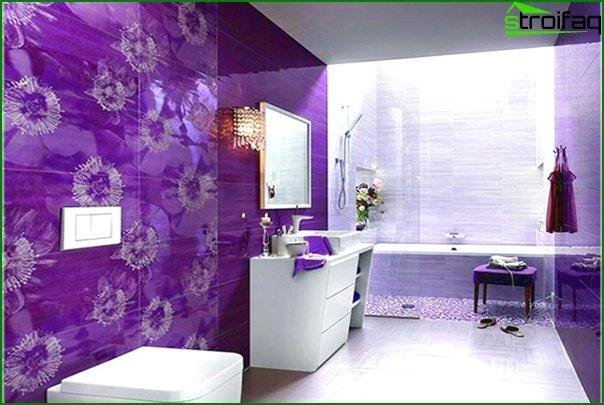 Tile of different colors in the interior of the bathroom - 9