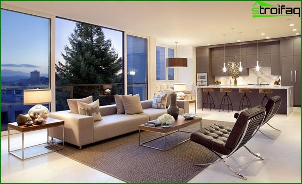 Living room in a modern style (modern furniture) - 3
