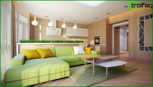Living room in a modern style (eco-style furniture) - 1