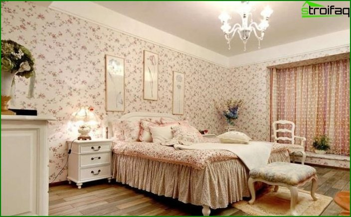 Bedroom decoration with one type of wallpaper 1