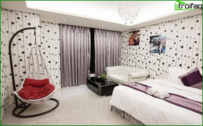 Bedroom decoration with one type of wallpaper 2