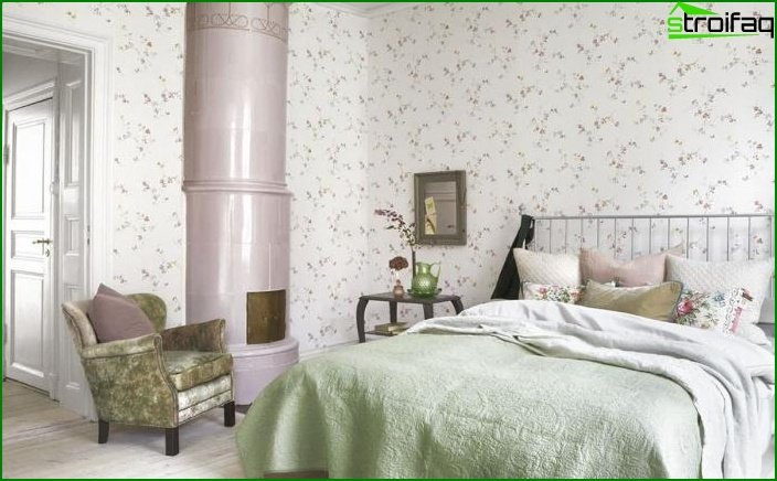 Bedroom decoration with one type of wallpaper 3