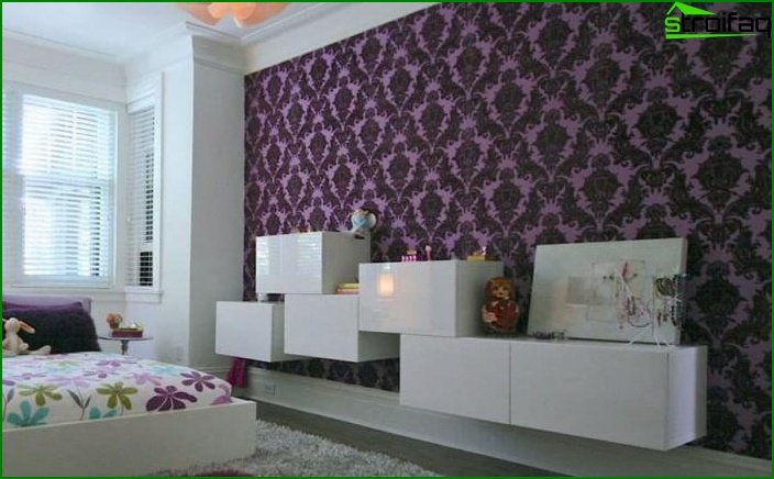 Bedroom decoration with one type of wallpaper 8