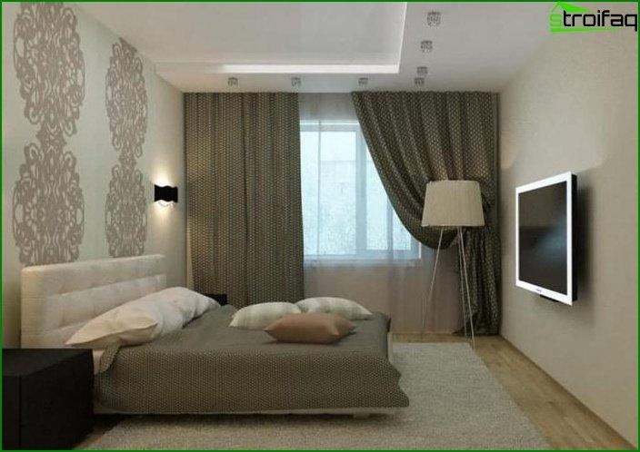 La combinación de 2 tipos de papel tapiz en el interior de la habitación 3