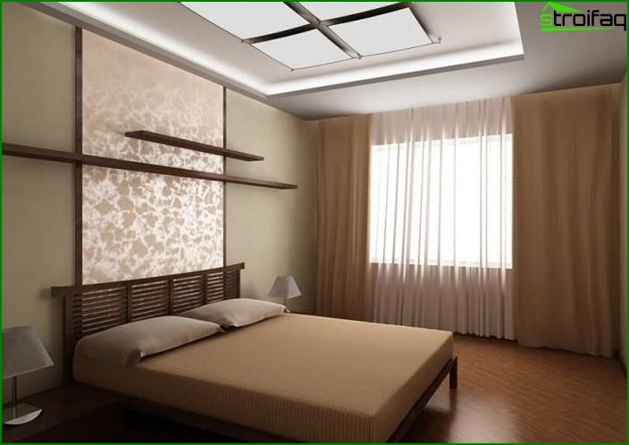 The combination of 2 types of wallpaper in the interior of the bedroom 6