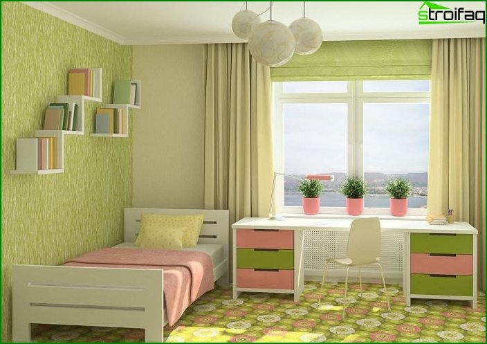 The combination of 2 types of wallpaper in the interior of the bedroom 7