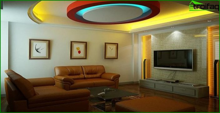 Plasterboard ceiling in the living room 1