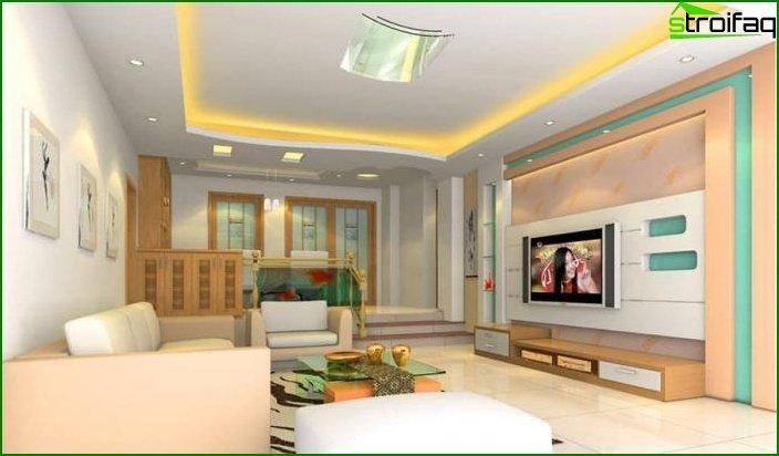 Plasterboard ceiling in living room 2