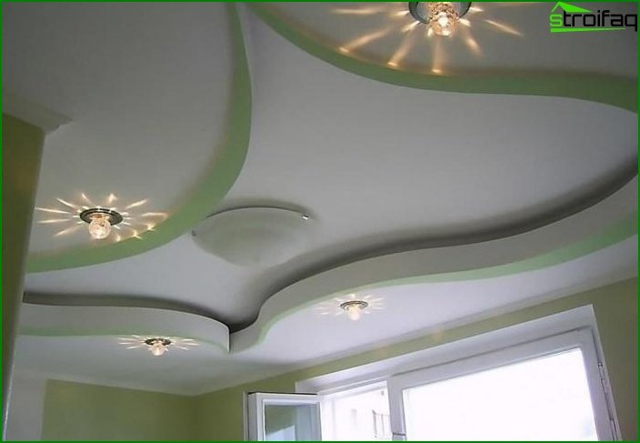 Plasterboard ceiling in the living room 3