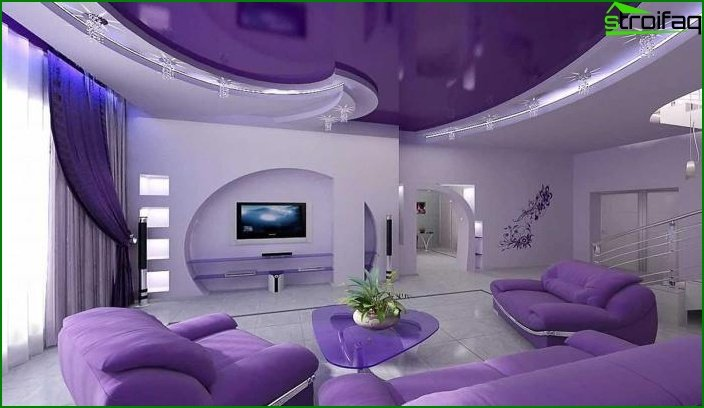 Stretch ceilings in the living room 1