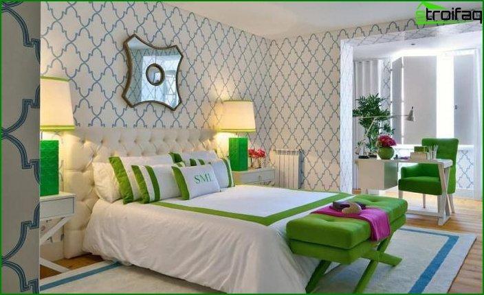 Papel pintado con estampado geométrico en el dormitorio 1