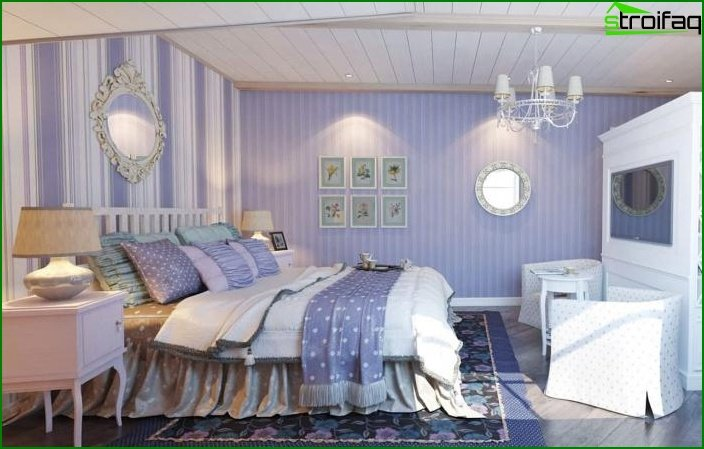 Papel pintado a rayas en el interior de la habitación 3