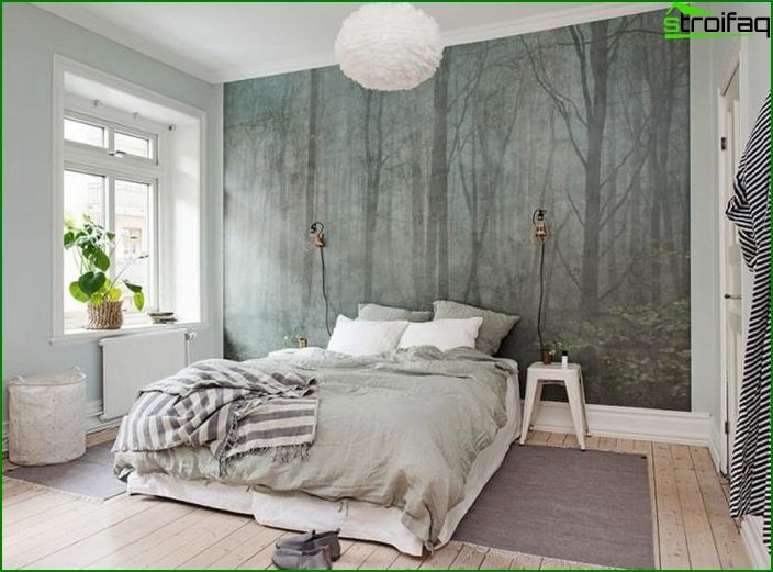 Wall mural in bedroom interior 2