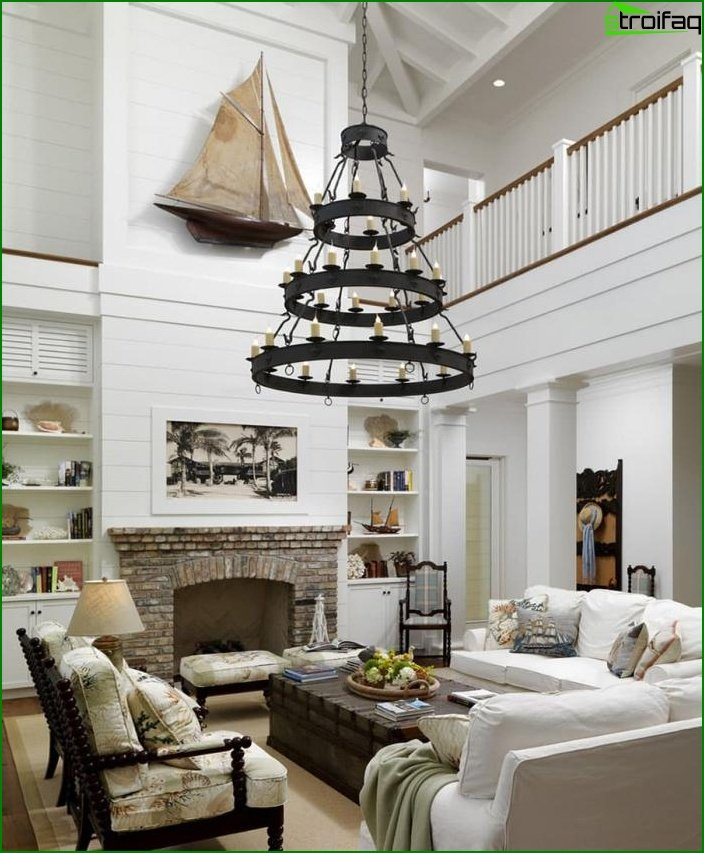 Wrought iron chandeliers in the interior of the living room 6
