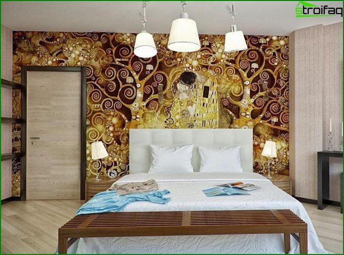 Wall mural in bedroom interior 4