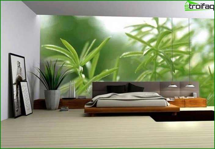 3D wallpaper in the interior of the bedroom 1