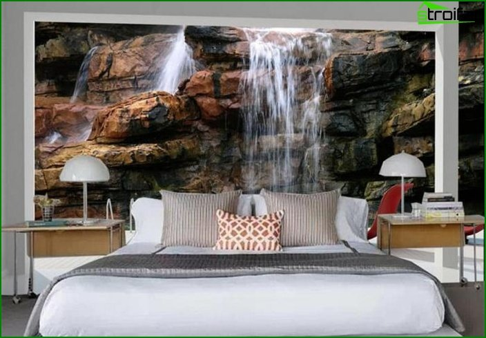 3D wallpaper in the interior of the bedroom 4