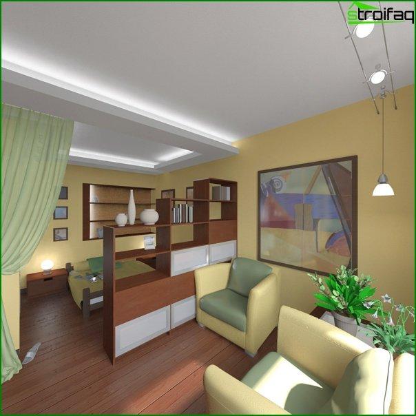 مشروع تصميم شقة من غرفة واحدة 2