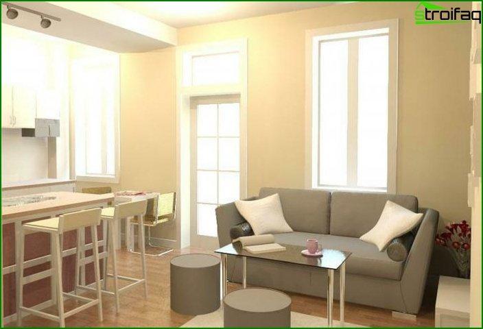 شقة من غرفة واحدة - الداخلية 3