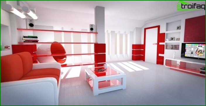 Shade Aurora Red in the interior of the living room 4