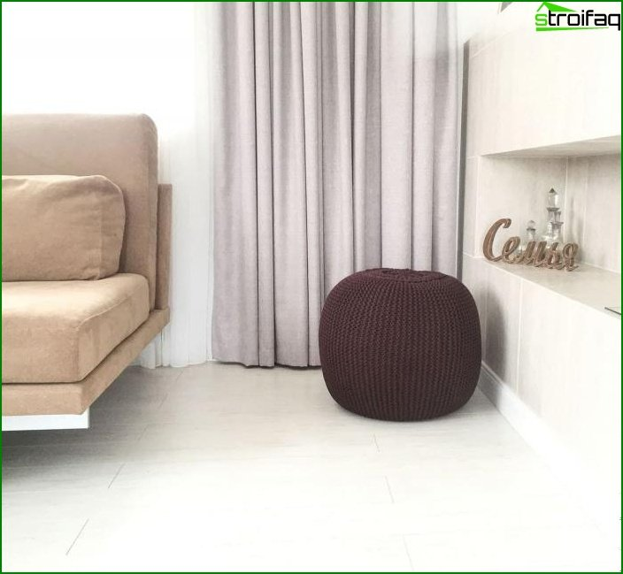Knitted poufs in the interior 1