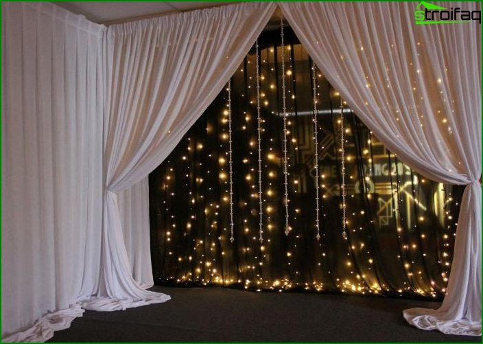 Glowing curtains in the interior 4
