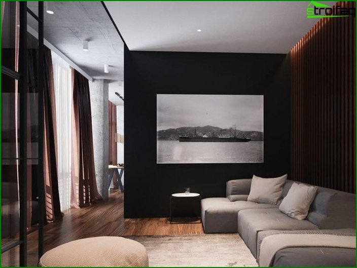 Black wallpaper in the interior 3