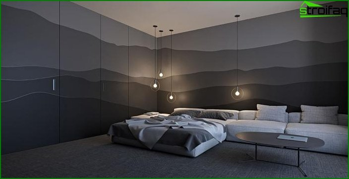 Black wallpaper in the interior 8