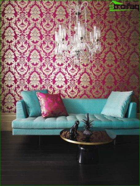 Foto de papel tapiz textil en el dormitorio