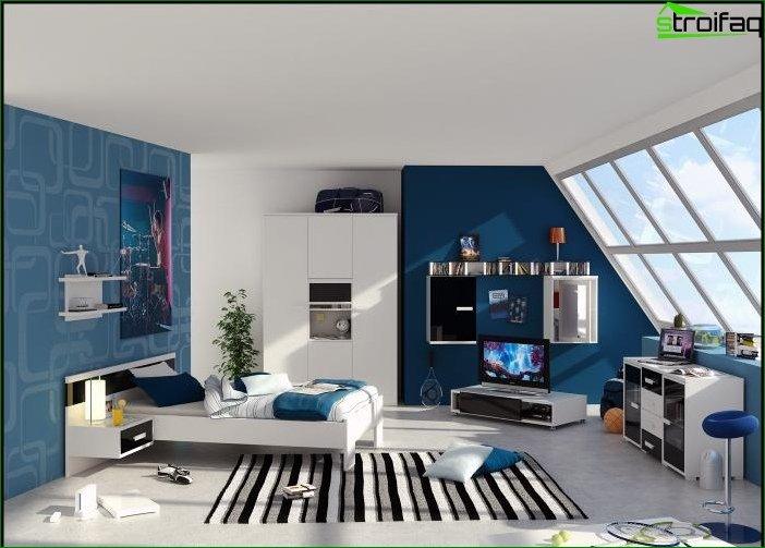 Papel tapiz azul en el dormitorio