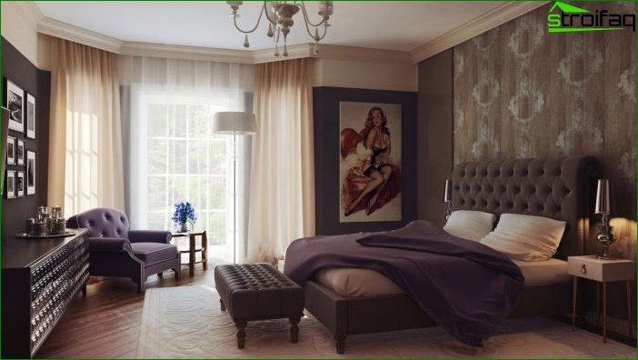 Papel tapiz marrón en el dormitorio