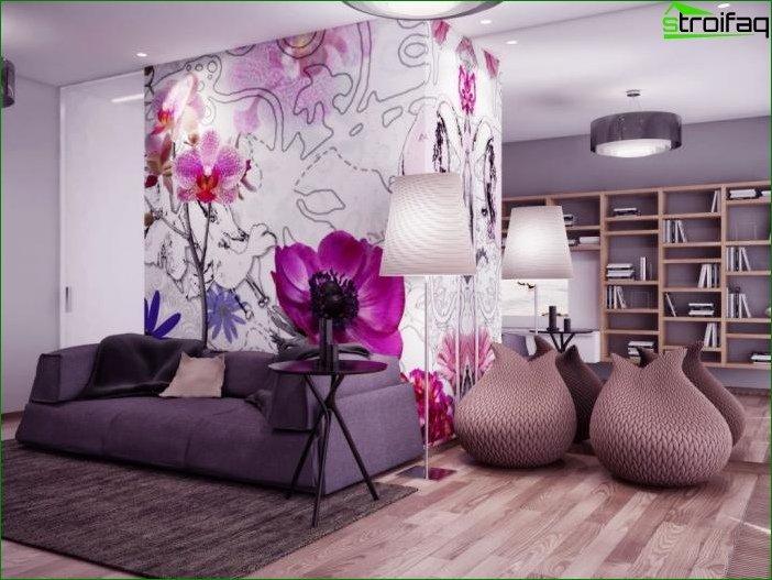Papel pintado combinado en el dormitorio