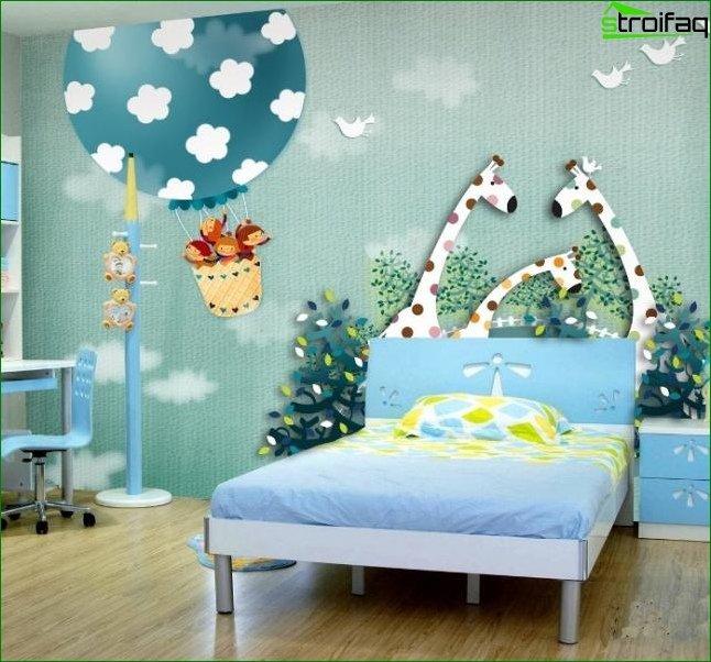 Papel pintado en la habitación de un niño