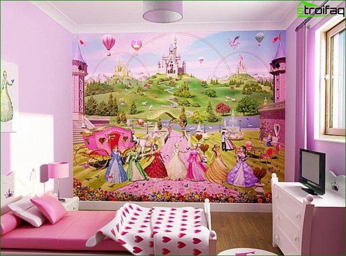 Papel pintado en el dormitorio de la niña