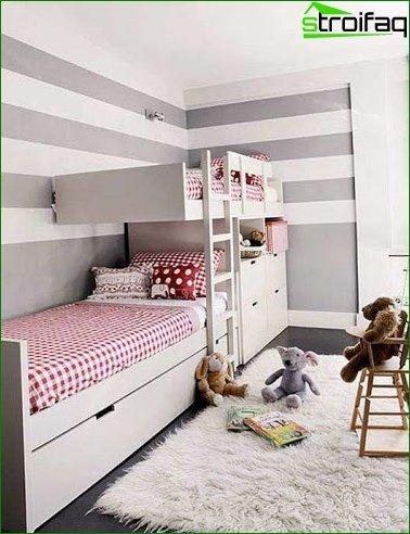 ? Design of a large nursery 18 sq.m 1