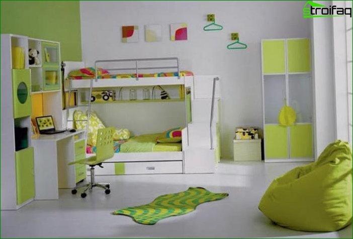 ? Design of a large nursery 18 sq.m 10