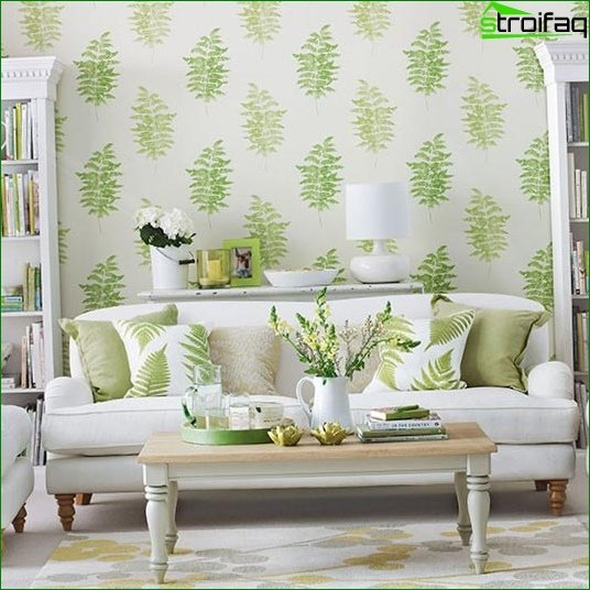 Classic wallpaper for the living room - photo