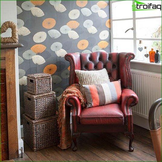 Papel pintado clásico para la sala de estar - foto