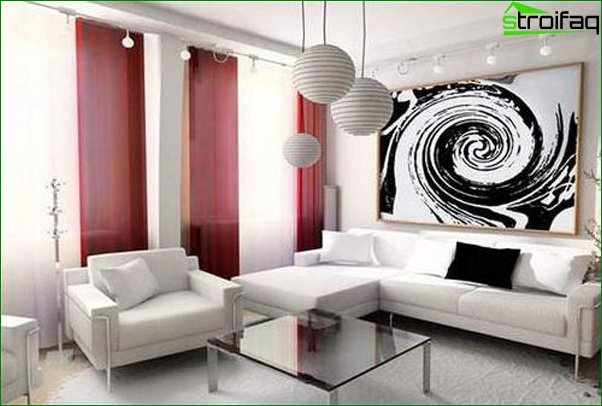 Photo curtains in the living room in a modern style