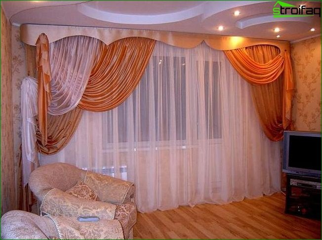 Selection of curtains in the living room with a balcony
