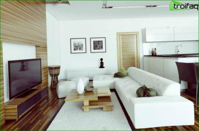Foto del diseño de un estudio de 40-50 metros cuadrados. metro
