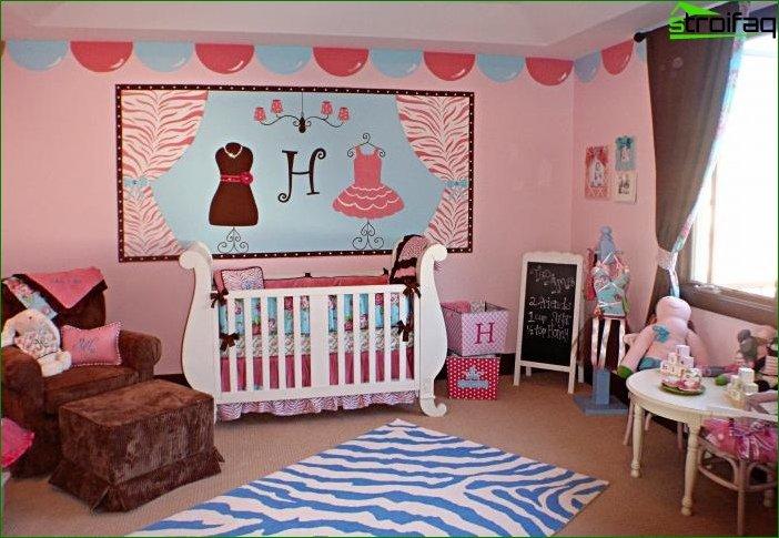 Foto del diseño de una habitación infantil para una niña de 2-3 años.